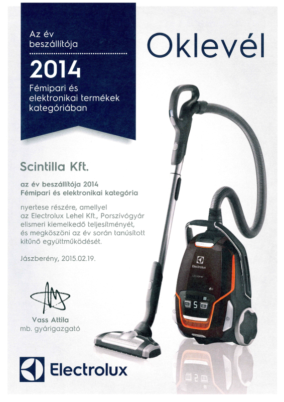 Az év beszállítója 2014 - Fémipari és elektornikai termékek kategóriában - Electrolux